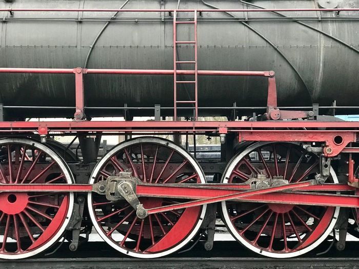 Close-up of red wheel