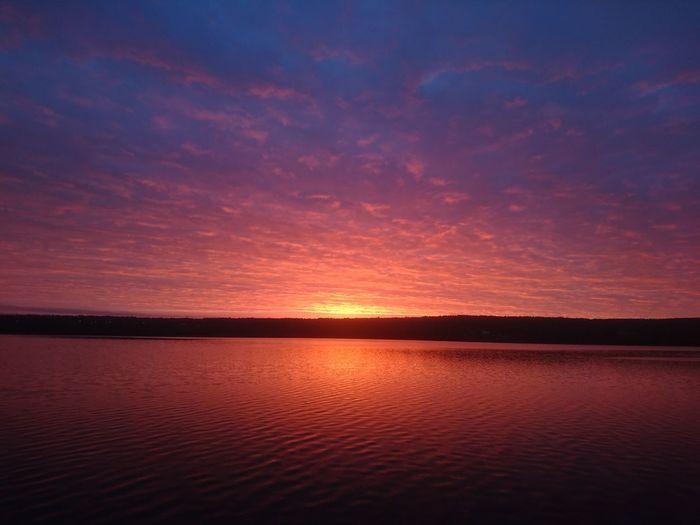 Sunrise Sunset Water Beauty In Nature Sky Calm Sundsvall Sweden Summer Sommar