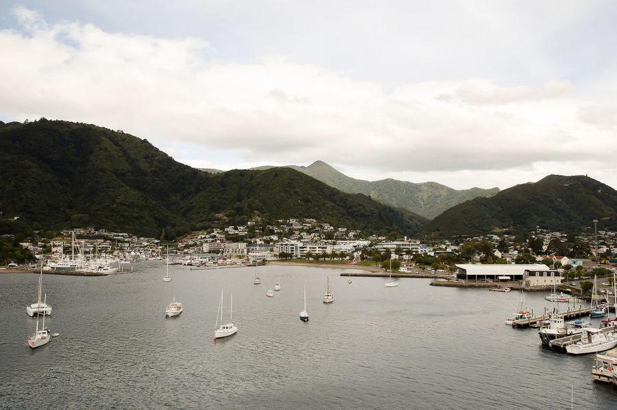 Picton Port - New Zealand Harbor NZ Picton Port New Zealand Picton  Port Ships Waterfront
