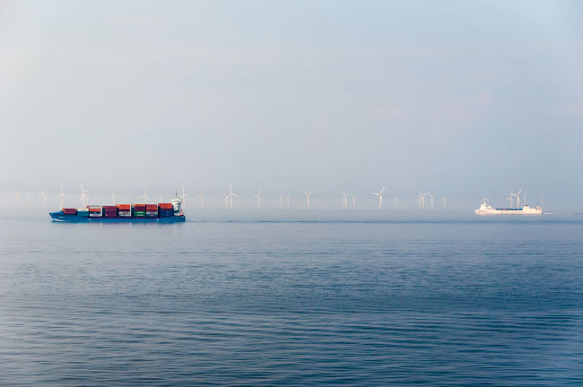 Container Container Ship Nautical Vessel Offshore Offshore Windpark Outdoors Sea Wind Turbine