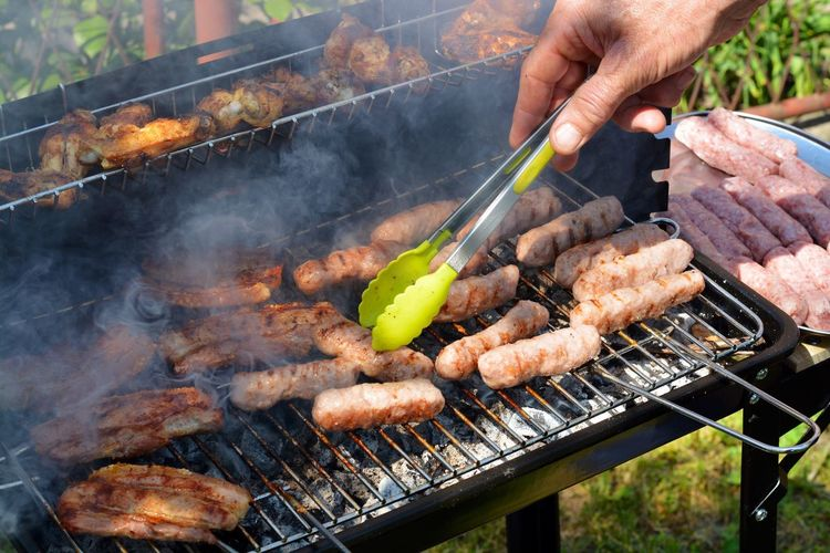 Meat on barbecue grill