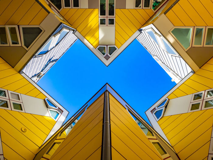 Architecture City EyeEm Best Shots Modern Netherlands Rotterdam Architecture Backgrounds Blue Building Building Exterior Built Structure Clear Sky Day Directly Below Domestic Dutch Eye Catching Full Frame Geometric Shape Homes Housing Low Angle Low Angle View Monument Multi Colored Nature No People Outdoors Pattern Piet Blom Residential District Sky Urban Window Yellow The Architect - 2018 EyeEm Awards