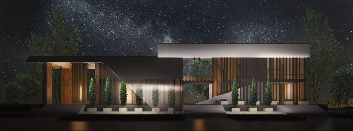 Night Nature Hause дизайн 3d Design 3D Contemporary Architecture minimal Enjoying Life Forest honeyhome
