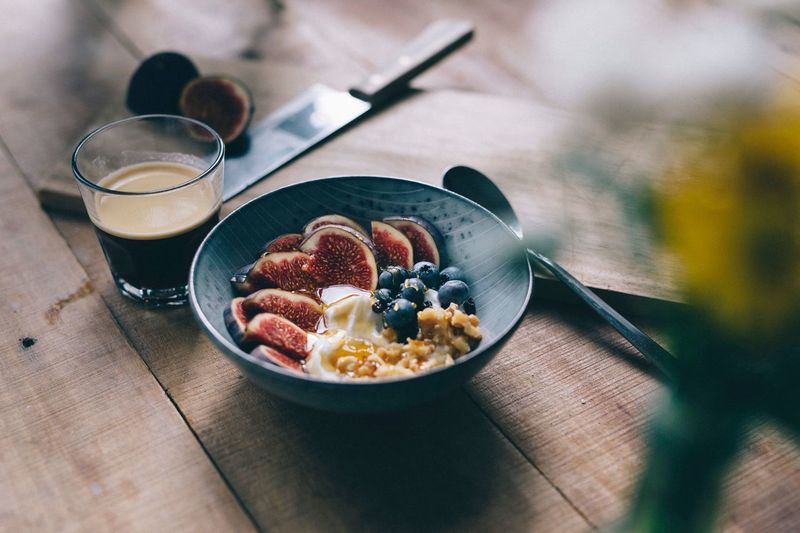 Close-up of breakfast served in bowl on table