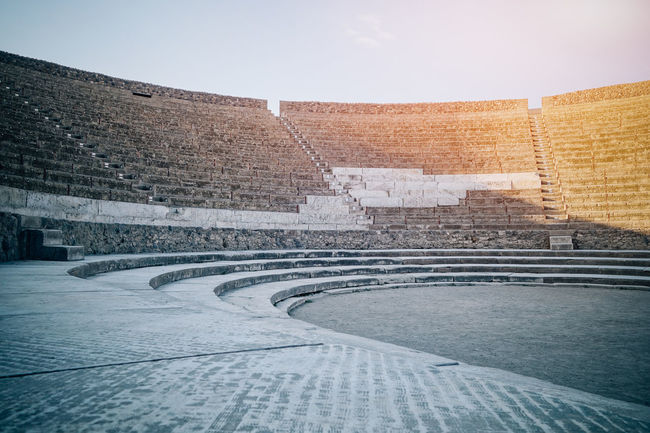 Ancient Architecture Ancient Ruins Architectural Feature Architecture Brick Wall Building Built Structure City Day Empty No People Outdoors Pompeii  Roman Theater Sky Sunlight Sunny The Way Forward Travel Destinations Walkway