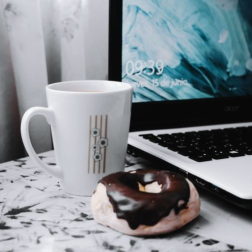 Breakfast Food And Drink Coffee - Drink Indoors  Chocolate Drink No People Sweet Food Food Close-up Day Be. Ready. City Life Breakfast VSCO Vscocam Simplicity Simple Photography Simple Things In Life Coffee Donuts Freshness EyeEm Best Shots First Eyeem Photo EyeEm Gallery EyeEmBestPics