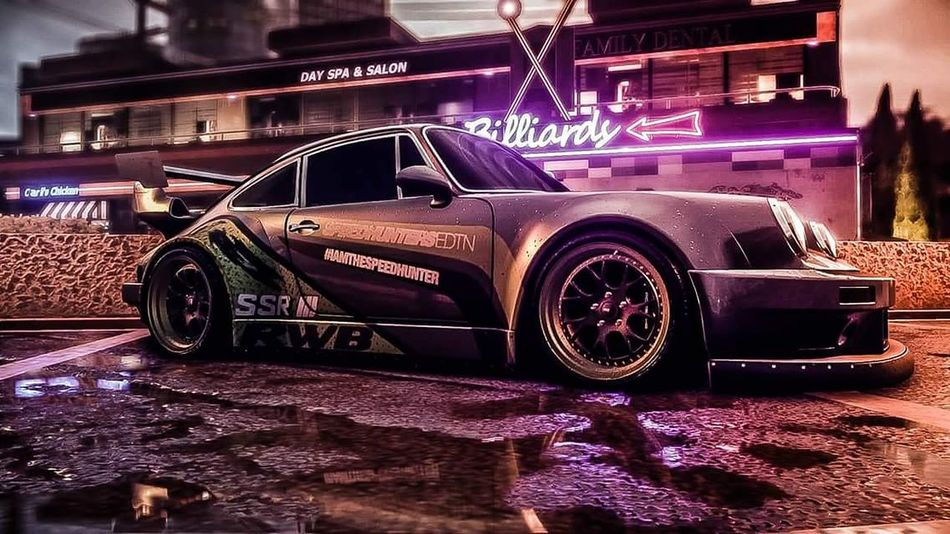 Shot taken in NFS NFS Night Road Travel Cars Porche Style Drift Rain Wet Shop Neon Lights Sky Dark Light Car Porn Decals Gaming PS4 Wrapped Cool Parking Fast Sunset Colors