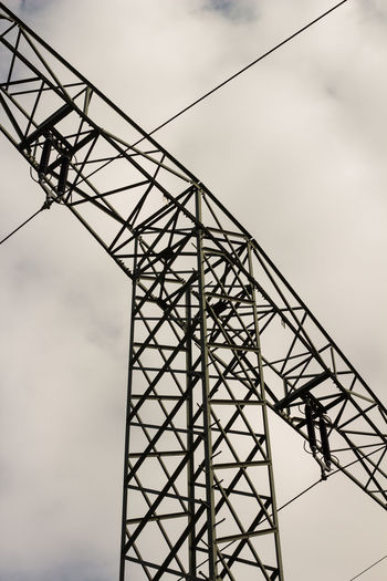 Architecture Cable Cloud - Sky Connection Day Electricity Pylon Low Angle View Metal No People Outdoors Sky Technology