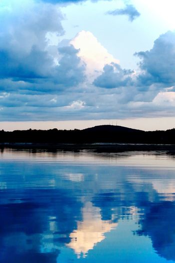 Beauty In Nature Blue Cloud - Sky Day Lake Mike Stouffer More at https://thetinmansheart.com No People Outdoors Reflection Scenics Sky TheSixthLens Tranquil Scene Tranquility Tree Water Waterfront
