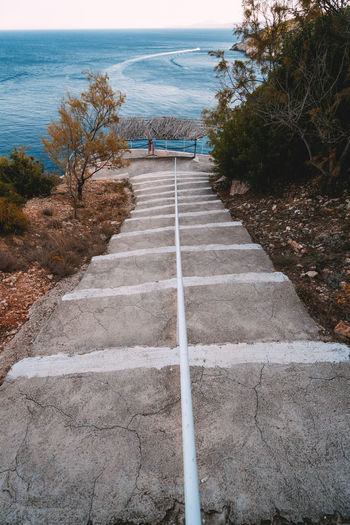 High angle view of footpath by sea against sky