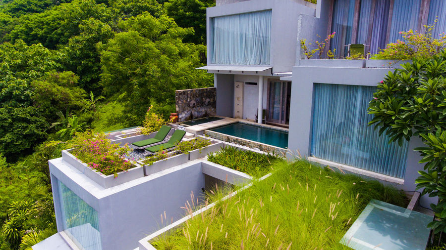 Svarga resort on Lombok. Plant Building Exterior Built Structure Architecture Building Front Or Back Yard Nature Grass Day Wealth No People Residential District Luxury Tree Modern House Outdoors Green Color Window Water Swimming Pool Forest Forest Photography Resort Resort Hotel