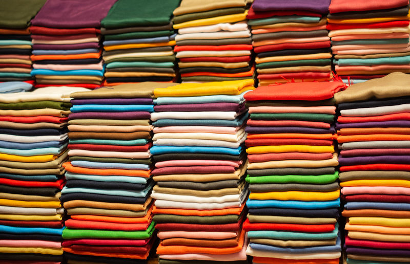 Full frame shot of multi colored textiles for sale