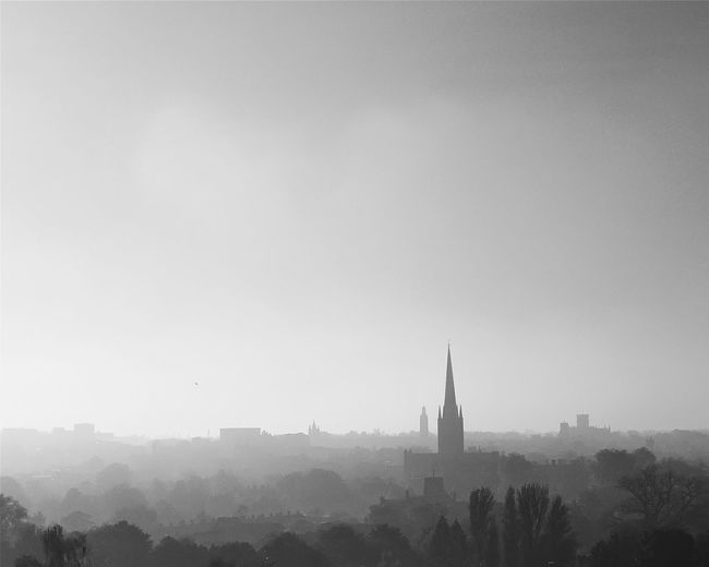 I love, that in this modern age, Norwich's skyline is still dominated by its cathedral. Norwich Haze Misty Norwichcathedral Cityscapes Blackandwhite