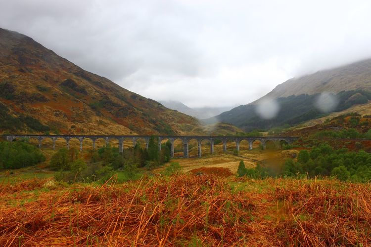 Scotland Scotland Highlands Bridge Glenfinnan Glenfinnan Viaduct Harry Potter Bridge Harry Potter Train Locomotive Locomotive Engine Mountain Mountain Range Nature Outdoors Railway Railway Bridge Railway Smoke Rainy Day Sky Train Train Smoke Viaduct