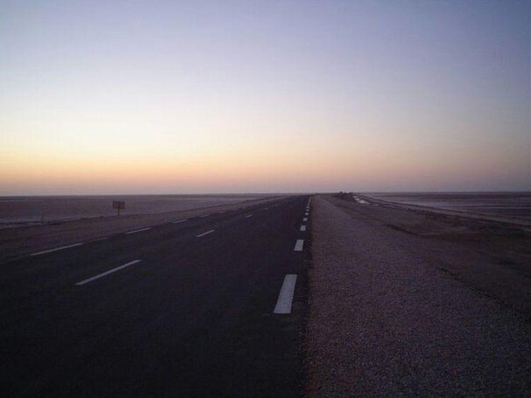 Desert Sunrise Skyscape Horizon Roads Desert Road