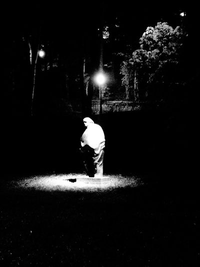 Statue of Miroslav Krleža Night Full Length Illuminated One Person Real People Outdoors Standing Tree Adult Statue Blackandwhite Photography Art Is Everywhere