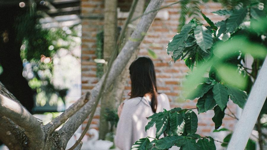 Rear view of woman walking on plants