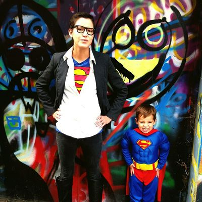 Halloween with my boy Halloween Superman Supermom Superboy Clarkkent Graffiti Capture The Moment