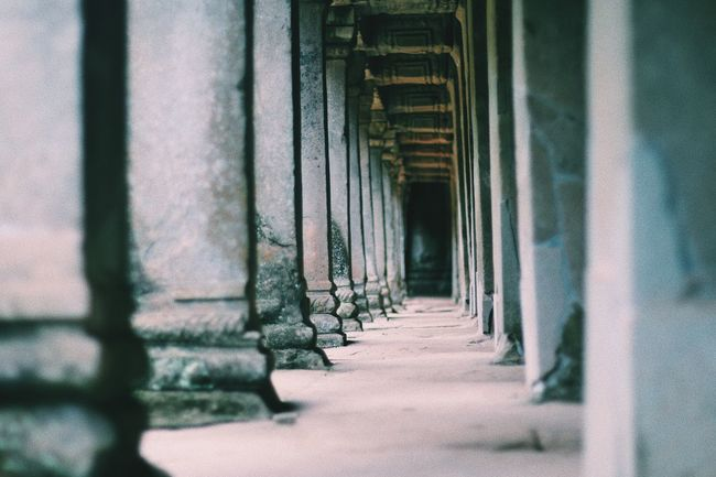 Ancient Angkor Wat Architecture Built Structure Cambodia Column Day Indoors  No People Repetition The Way Forward