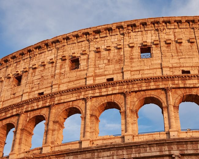 Low angle view of the colosseum in rome