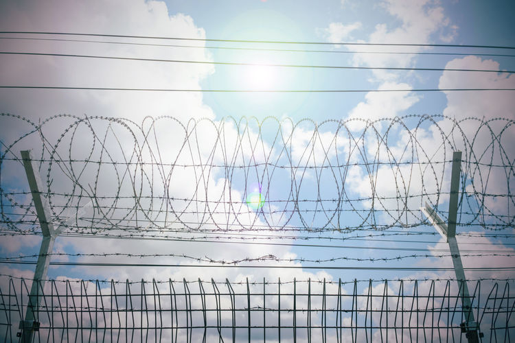 Chainlink fence against sky