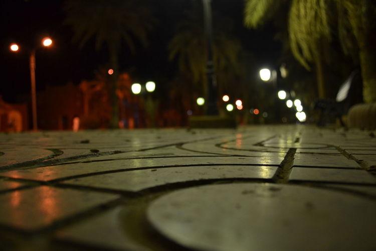 Adrar Algeria Asphalt Desert Focus On Foreground Lights Nightshot Sahara