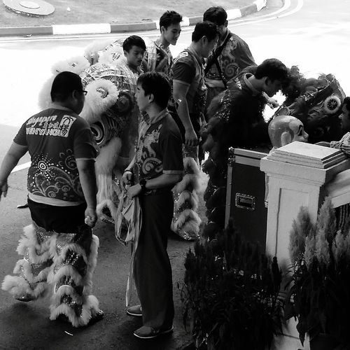 Performers Lion Costume Streetphotography Sg_streetphotography Costume Lion Dance Bnw_captures Bnwphotography Bnw_worldwide Bnwstreetphotography Singapore Singapore CNY CNY2017 Chinese Culture