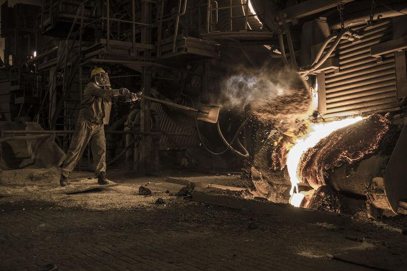 Industry Steel Industry Danger Fire Furnace Heat - Temperature Manufacturing Equipment Molten Steel Splash Steel Steel Worker