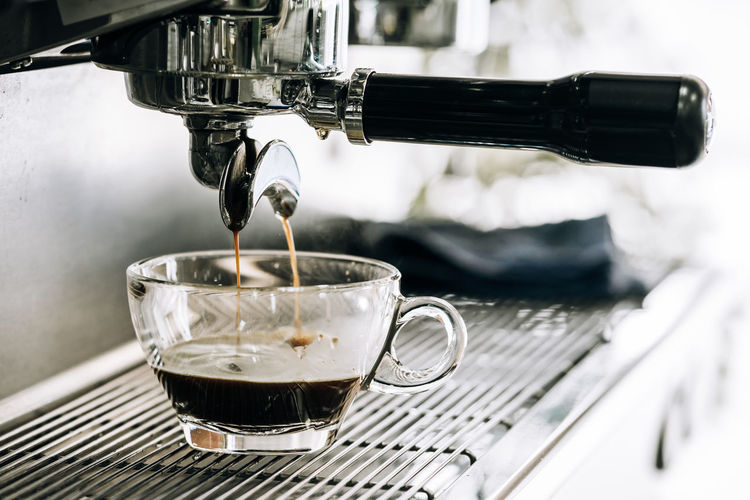 Maker Cafe Machine Coffee Beverage Espresso Cappuccino Caffeine Drink Cafeteria Hot Fresh Equipment Making Modern Closeup Pour Service Nobody Kitchen Professional Preparation  Prepare Bar Shop Aroma Cup Automatic Coffeemaker Make Food Brewing Breakfast Morning Restaurant Black