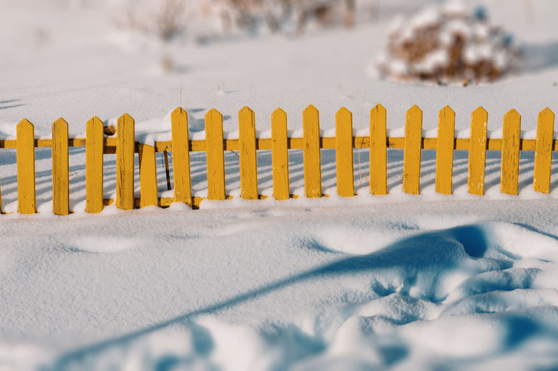 Outdoors Snow No People Day Winter Fence Yellow Close-up In A Row Child Size Abstract City City Details Life Beauty In Nature My Year My View waiting game Fine Art Photography The Street Photographer - 2017 EyeEm Awards Neighborhood Map