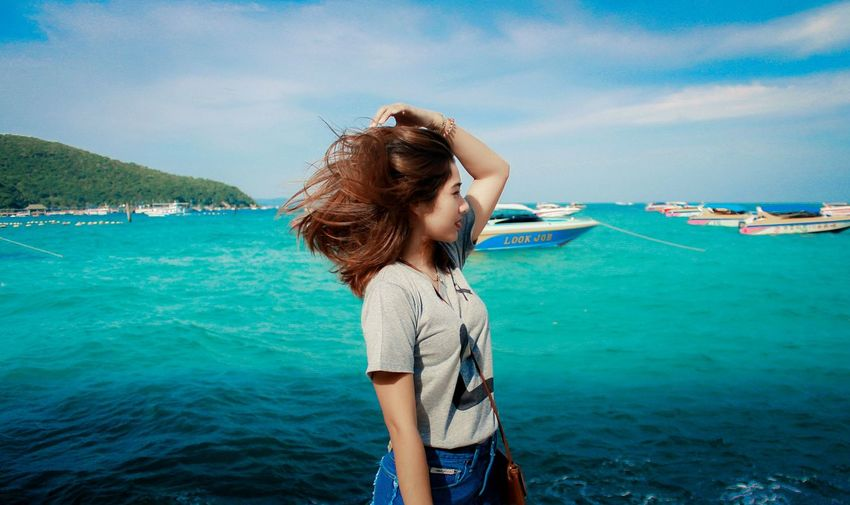 Summer Beautiful People Women Beach Vacations Sea Beauty Enjoyment Water One Woman Only Fun One Person Rear View Standing Travel Only Women Human Back Outdoors Back One Young Woman Only