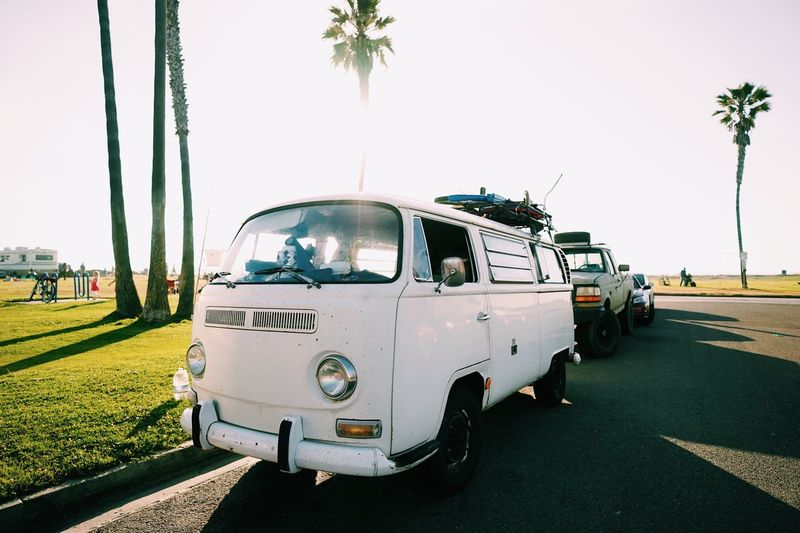 California Bus Love // Transportation Clear Sky Grass Outdoors Land Vehicle Tree Day No People