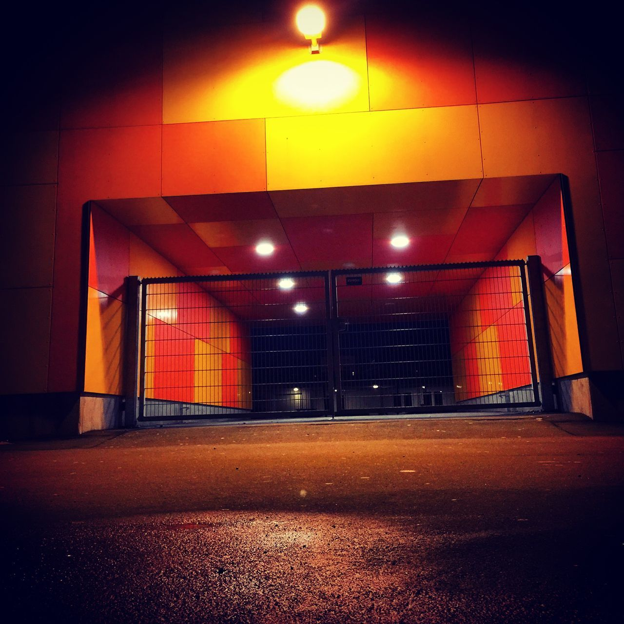 illuminated, architecture, built structure, empty, night, no people, the way forward, indoors, building exterior