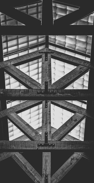 Looking up at the Rafters Architectural Design Architecture Architecture And Art B&w Backgrounds Black And White Blackandwhite Built Structure Close-up Day Full Frame Geometric Shape Geometry Indoors  No People Pattern