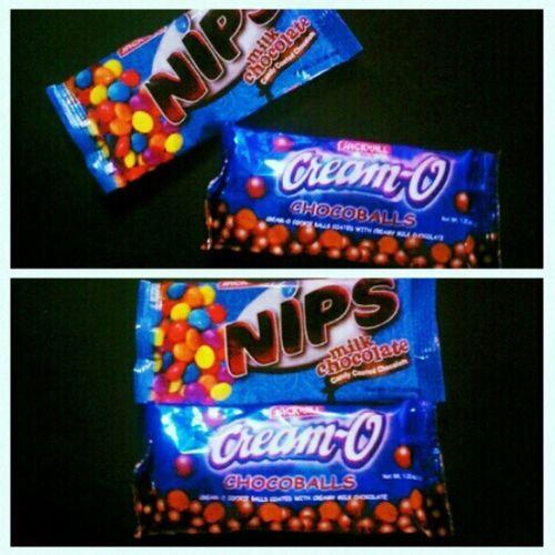 Endulging in chocolates. Nipsmilkchocolate VS Cream -Ochocoballs