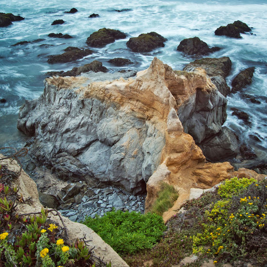 Rock outcropping at Pescadero Beach, California. Long exposure. Pescadero, California Beach Beauty In Nature Eroded Flowing Water Geology High Angle View Land Long Exposure Motion Nature No People Outdoors Pescadero Rock Rock - Object Rock Formation Rocky Coastline Scenics - Nature Sea Solid Water Waves And Rocks