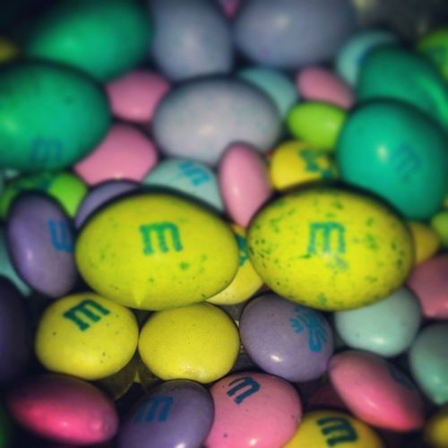 Sometimes you just need a little Chocolate !! <3 M&M's Colorful Purple Pink Teal Yellow Candy Eggs Mmschocolate MMS Happyeaster
