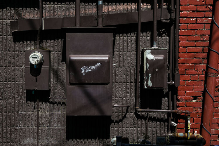 Close-up of meter boxes on wall