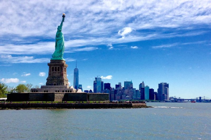 The Big Apple Skyline Photo Stars And Stripes Sun Travel Architecture USA Statue Of Liberty New York City