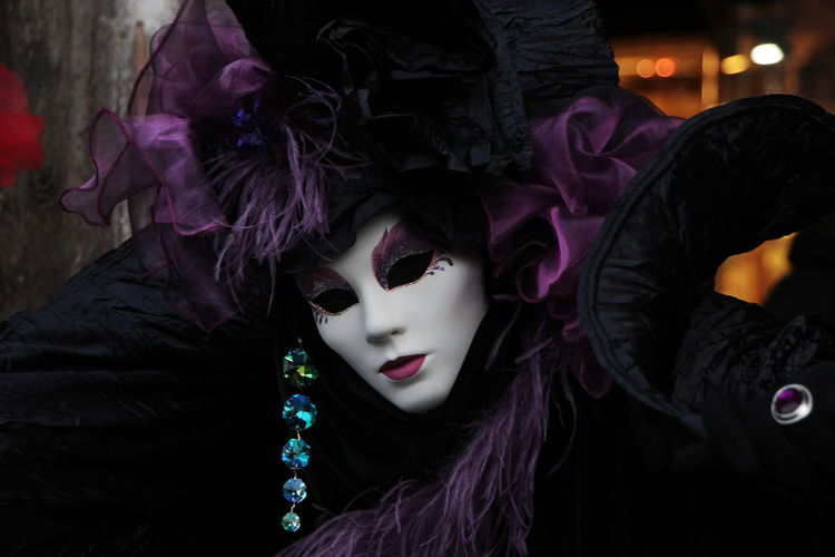 Close-up of person wearing costume during carnival