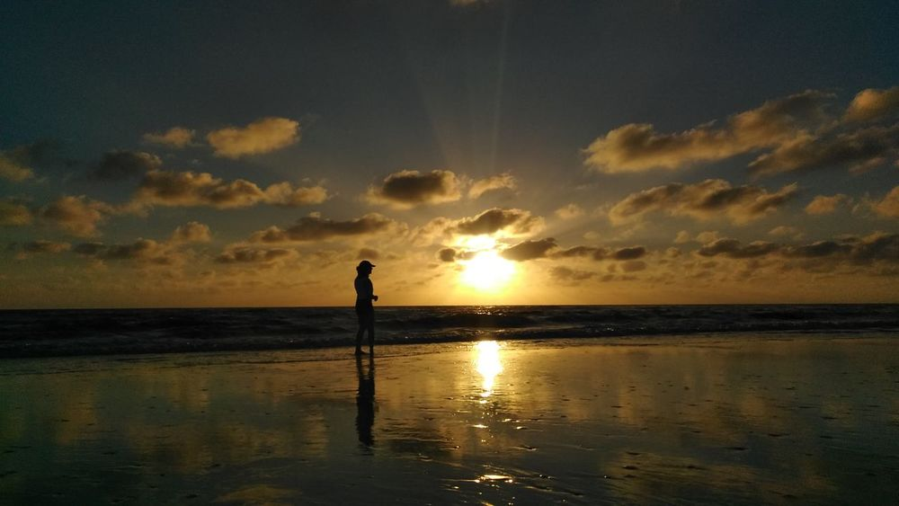 Sunset Reflection Beach Sea Water Cloud - Sky One Person Sky Full Length Silhouette People Outdoors Tranquility Horizon Over Water Standing Nature Scenics Beauty In Nature Night Travel Destinations