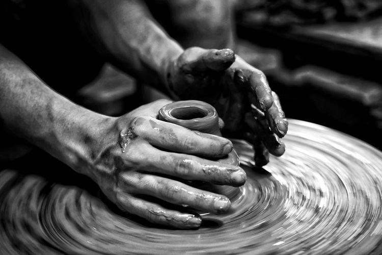 Human Hand Working Men Occupation Workshop Artist Skill  Manual Worker Craftsperson Work Tool Clay Craft Pottery Art Craft Product ArtWork Pot Sculpted Origami Mud Terracotta