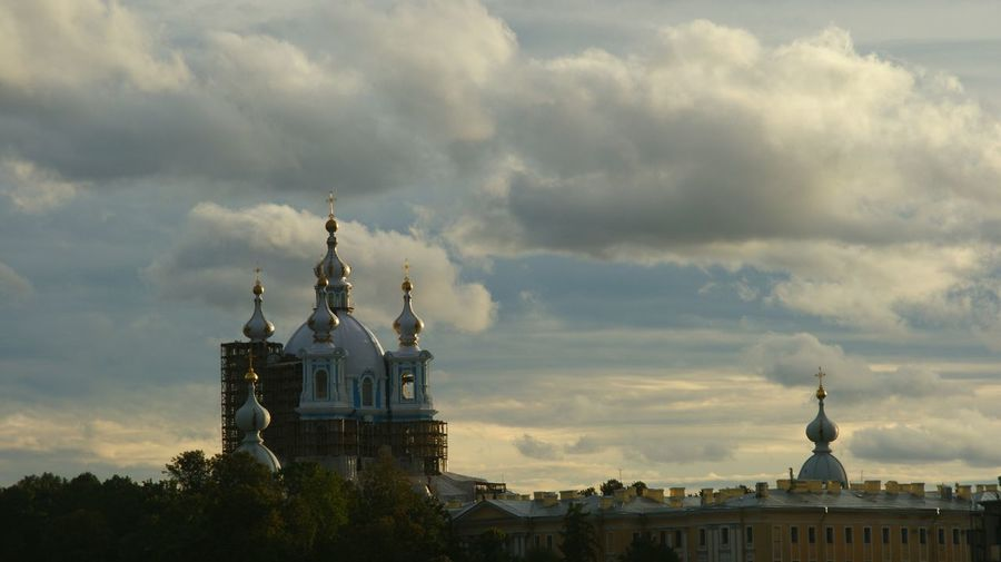 High section of church against cloudy sky