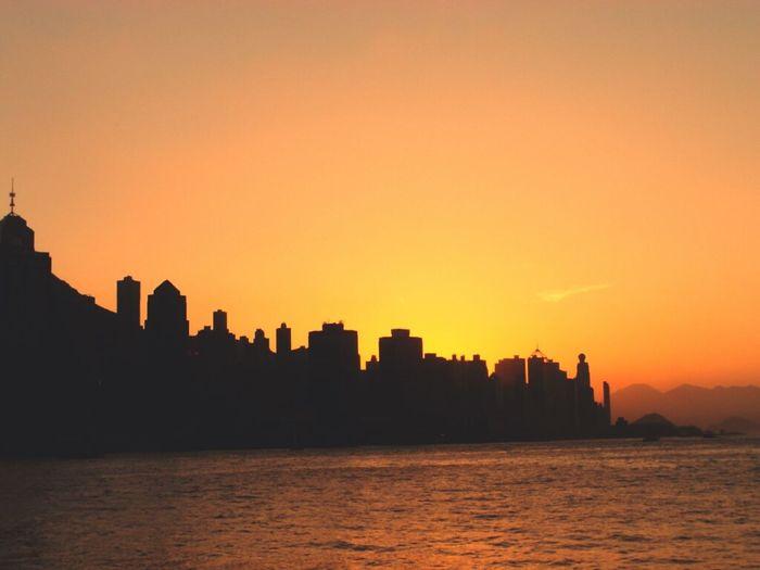 Sunset Sky Enjoying The View Hong Kong Hong Kong Harbour