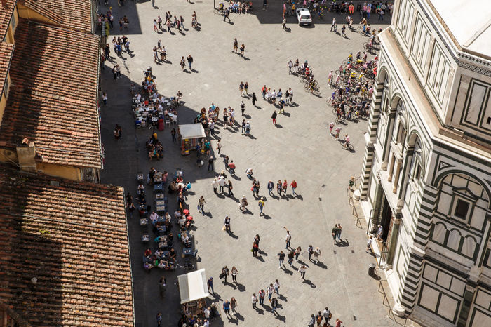 Adult Adults Only Aerial View Architecture Building Exterior Cafe City City Life Cityscape Crowd Day Duomo Santa Maria Del Fiore Elevated View High Angle View Large Group Of People Men Mixed Age Range Outdoors People Real People Square Summer
