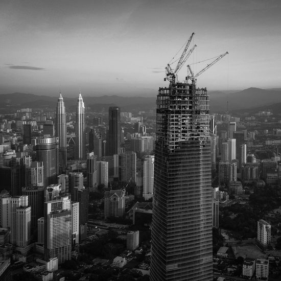 Cityscape at construction site