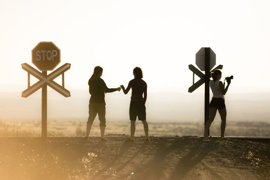 Silhouette People Standing Railroad Crossing Namibia