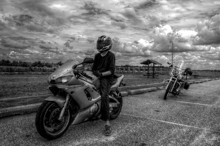 Having fun Adult Adults Only Biker Cloud - Sky Day Field Full Length Land Vehicle Landscape Looking At Camera Motorcycle Nature One Person Outdoors People Portrait Real People Riding Sky Transportation Young Adult Young Women