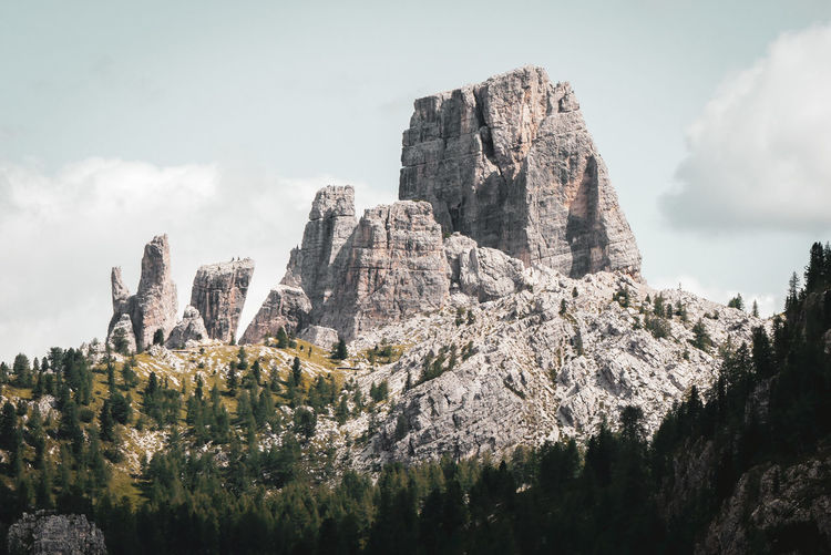 Trees Majestic Falzarego Landscape Hiking Mountain Peak Tranquility Scenics Dolomites, Italy Italy Alps Alpine Alpine Landscape Idyllic Cinque Torri Travel Sunlight Dolomites Outdoors Environment Solid Day Sky Rock Formation Mountain Geology Tranquil Scene Rock Non-urban Scene Hiking Pole Countryside