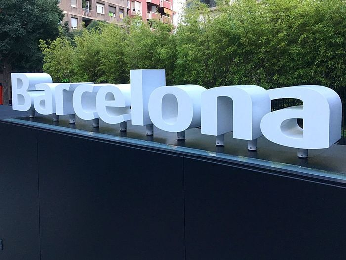 Barcelona Text Built Structure Communication Building Exterior Architecture No People Sign City